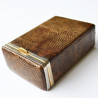 reptile leather cigarette case, vintage cigarette case, vintage gift, mens gift, reptile leather, cigarette case collection