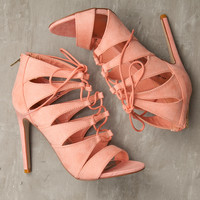 In the Moment Peach Lace Up Heels