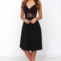 From Sheer to There Black Lace Midi Dress