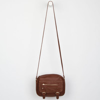 Under One Sky Perforated Faux Leather Crossbody Bag Cognac One Size For Women 23897240901