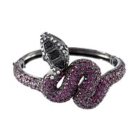 Ghiana Ruby CZ Snake Statement Bangle Bracelet