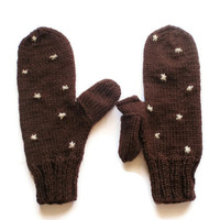 Snowflake texting mittens - Brown and white stars with thumb flap