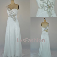 One Shoulder Sweetheart with Beading Chiffon Long White Prom Dresses Evening Gown, Evening Dresses, Wedding Party Dresses
