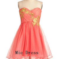 New arrival Sweetheart sleeveless A-line organza with appliques ruffle short Prom/Evening/Party/Homecoming/Bridesmaid/Cocktail/Formal Dress
