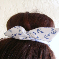 """Wire Bun Wrap, Top Knot Wire Wrap White with Blue Anchors Mini"""" Dolly Bow Wire Headband Ponytail Hair tie Hair Bun Tie Wrap"""