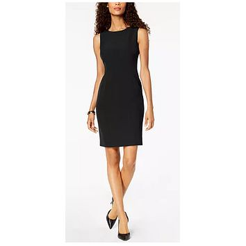 Kasper Crew-Neck Sheath Dress, Size 10/Black