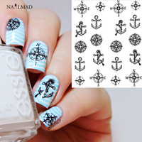 1 sheet Compass Anchors Nail Water Decals Black Transfer Stickers Nail Art Sticker Tattoo Decals
