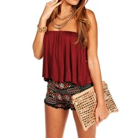 Promo-Ruby Strapless Ruffle Crop Top