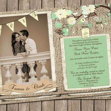 Rustic Wedding Invitation, Mint, Cream, Burlap & jars, Digital file, Printable