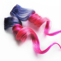 Human Hair Extension, Spring extension hair, hair extension, pink, purple clip in hair, Tie Dye Colored Hair - Superstar