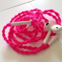 Tangle Free Earbuds for iPhone NEON PINK made with Microphone and Volume Control - by MyBuds