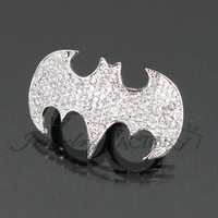 Batman Rhinestone Two Finger Ring FG2062-R965 : Jewelry Factory | Shop Hottest Fashion Jewelry and Accessories | Wholesale & Retail