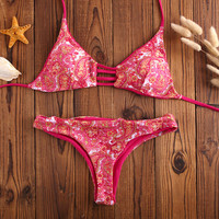Retro Reversible Ethnic Bikini Set Beach Swimsuit Summer Gift 186