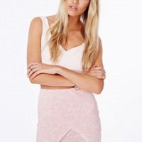 Missguided - Lasha Baby Pink Wrap Over Skirt In Printed Floral Lace