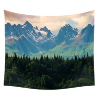 Tree and Mountains Beautiful Wall Hanging Tapestry