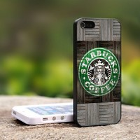 Wood Print Starbucks Coffee Logo - For iPhone 4,4S Black Case Cover