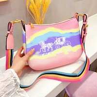 COACH Moon Bud Bag YKK Hardware Logo Gradient contrast colorful bag Pink