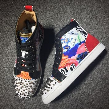 Christian Louboutin CL Lou Spikes Style #2181 Sneakers Fashion Shoes Best Deal Online