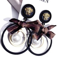 VERSACE Popular Women Personality Bow Circular Pendant Earrings Accessories Jewelry