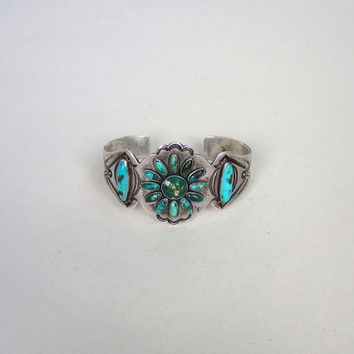 Beautiful Fred Harvey Era Vintage Turquoise and Sterling Silver Cuff