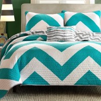 4 Pc Zig Zag Reversible Chevron Bedspread Quilt with Matching Shams and Cushion pillow - Aqua, Black, Pink (Teal/Grey)