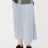 Grey Pleated Knit Skirt