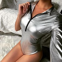 2020 new women's bright silver long-sleeved one-shoulder sexy slim all-match bodysuit