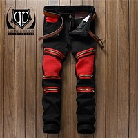KALIPPE YACOCHY brand Ripped Denim Pant Knee Hole Jeans Men Slim Skinny Destroyed Torn Jean fear of god red black jeans hommes
