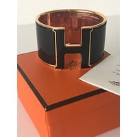 Hermes Black Enamel H Clic Clac Bracelet Bangle Rose Gold 18yrs on eBay