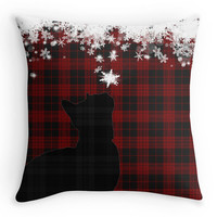 Christmas Cushion Cover, Red and Black Tartan Cat, Snowflakes Scatter Cushion, 16x16, Xmas Decoration, Gift