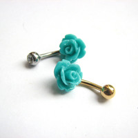 Small Teal Blue Rose Bellybutton Ring with Silver or Gold Belly Bar