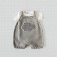Knitted overalls in gray with a cloud. 100% cotton. READY TO SHIP size newborn.