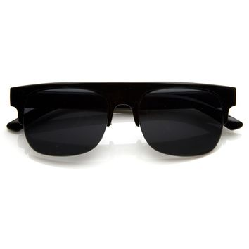Square Club Master Semi-Rimless Half Frame Flat Top Horn Rimmed Style Sunglasses