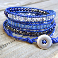Beaded Leather Wrap Bracelet 4 Wrap with Denim Blue Hematite Champagne and Silver Czech Glass Beads on Navy Blue Leather Fall Bracelet