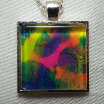 Hand Crafted Underwater Electricity Square Pendant Necklace   FREE SHIPPING