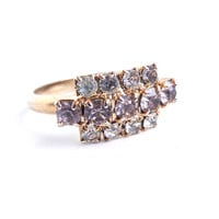 Vintage Clear & Pink Rhinestone Ring - Gold Tone Adjustable Costume Jewelry / Pastel