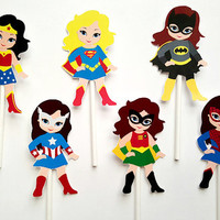 Girl Superhero  Cupcake Toppers   Birthday  Party Decorations Party Supplies Birthday Party Decorations Kids