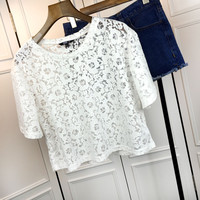 Sheer Mesh Floral Lace Short Sleeve Cropped Top