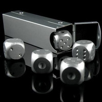 High Quality Aluminium Alloy Poker 5 pcs Silver Color Solid Dominoes Metal Dice Game Portable Dice Poker Party