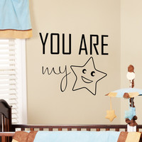 Wall Decals Quote You Are My Star Wall Decal For Baby Bedroom Children's Room Nursery Playroom Vinyl Stickers Home Decor 3929