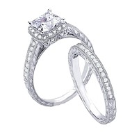 2.50ct Vintage Style Simulated Diamond Engagement Ring Set