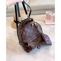 LV new female classic old flower backpack backpack two-piece