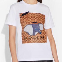 Disney x Coach Classic Printed Round Neck Print Short Sleeve Cotton T-Shirt