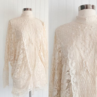 sheer ivory lace vintage 80s ULTRA batwing sleeve cocoon mini dress top // sequin pearl studded draped // size OSFM
