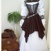 ON SALE NOW Complete Renaissance Pirate Wedding Costume: Bodice Shirt Skirt Set Wrist Cuffs and Lacing. Different fabrics for the bodice.