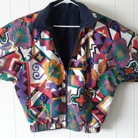 Vintage Fresh Prince of Bel Air Style Reversible Abstract Blazer size Medium Jacket Large Windbreaker Track Jacket