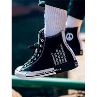 Converse Seek Peace black and white stitching canvas shoes for men and women