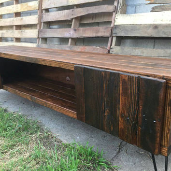 Honey colored entertainment center with doors , console table, media stand, reclaimed wood, craft furniture