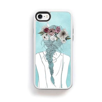 Flower crown girl illustration on blue for iPhone 7