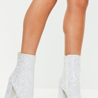 Missguided - White Flared Heel Glitter Ankle Boots